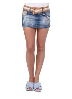 BLUE WHİTE Kemer Detaylı Mini Jean Etek